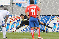 Honduras goalkepeer Orlin Vallencillo (18) dives to save a penalty kick.  Honduras defeated Costa Rica in Penalty Kick 4-2 in the quaterfinals for the 2011 CONCACAF Gold Cup , at the New Meadowlands Stadium, Saturday June 18, 2011.