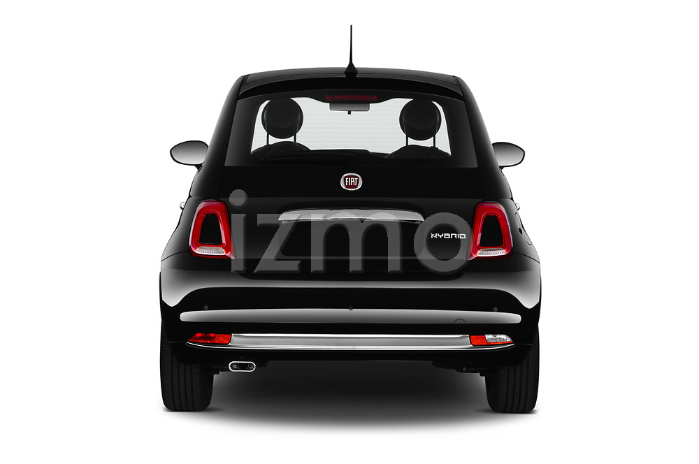 Straight rear view of 2020 Fiat 500 S8-Star 3 Door Hatchback Rear View  stock images