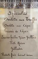 """Europe/France/Midi-Pyrénées/46/Lot/Causse de Limogne/Lalbenque: Menu du restaurant """"Le Lion d'Or"""""""