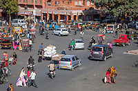 Jaipur, Rajasthan, India.  Mid-day Traffic, with Elephant, in Downtown Jaipur.