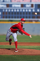 Cincinnati Reds pitcher Andrew Jordan (50) during an instructional league game against the Cleveland Indians on October 17, 2015 at the Goodyear Ballpark Complex in Goodyear, Arizona.  (Mike Janes/Four Seam Images)