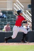Mitch Roman (10) of the Kannapolis Intimidators follows through on his swing against the Asheville Tourists at Kannapolis Intimidators Stadium on May 7, 2017 in Kannapolis, North Carolina.  The Tourists defeated the Intimidators 4-1.  (Brian Westerholt/Four Seam Images)