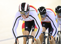 Southland's Jeremy presury out front in the team sprint at the BikeNZ Elite & U19 Track National Championships, Avantidrome, Home of Cycling, Cambridge, New Zealand, Sunday, March 16, 2014. Credit: Dianne Manson