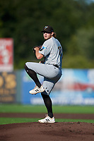 West Virginia Black Bears pitcher Austin Roberts (17) during a NY-Penn League game against the Auburn Doubledays on August 23, 2019 at Falcon Park in Auburn, New York.  West Virginia defeated Auburn 8-1, the first game of a doubleheader.  (Mike Janes/Four Seam Images)