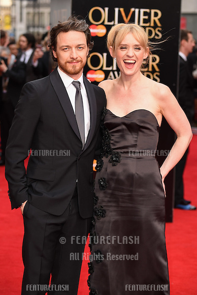 James McAvoy and Anne Marie Duff arrives for the Olivier Awards 2015 at the Royal Opera House Covent Garden, London. 12/04/2015 Picture by: Steve Vas / Featureflash