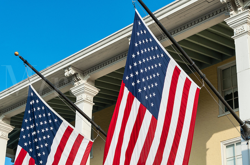 Detail of American flags on the exteruor of Congrass Hall, Cape May, New Jersey, USA.