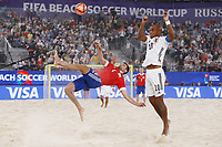 29th August 2021; Luzhniki Stadium, Moscow, Russia: FIFA World Cup Beach Football tournament; Russia versus Japan;  Aleksey Makarov of Russia challenges Ozu Moreira of Japan, during the match between Russia and Japan