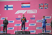 July 4th 2021; Red Bull Ring, Spielberg, Austria; F1 Grand Prix of Austria, race day;  VERSTAPPEN Max (ned), Red Bull Racing Honda RB16B, portrait, podium with BOTTAS Valtteri (fin), Mercedes AMG F1 GP W12 E Performance and NORRIS Lando (gbr), McLaren MCL35M