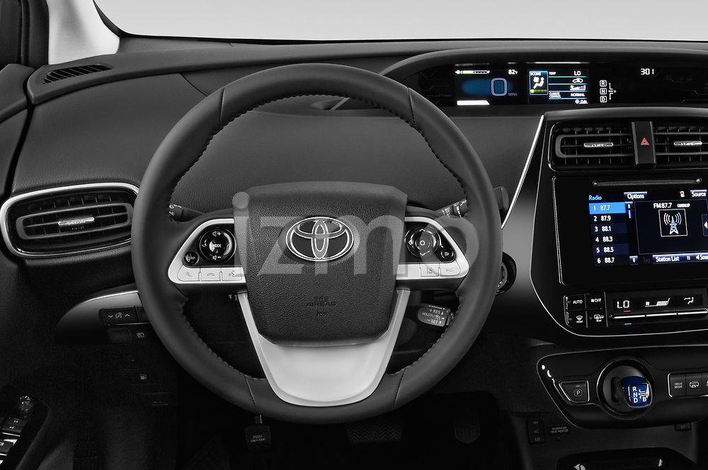 Car pictures of steering wheel view of a 2019 Toyota Prius-Prime Plus 5 Door Hatchback Steering Wheel