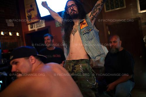 Scranton, Pennsylvania.July 30, 2012..The Bog Bar: last call...Photograph by Alan Chin.