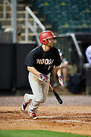 Chattanooga Lookouts third baseman Ryan Walker (18) follows through on a swing during a game against the Jackson Generals on April 27, 2017 at The Ballpark at Jackson in Jackson, Tennessee.  Chattanooga defeated Jackson 5-4.  (Mike Janes/Four Seam Images)