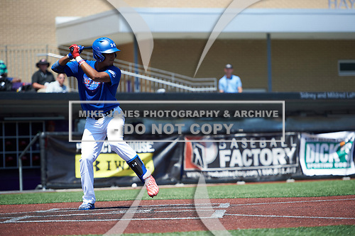 Nander De Sedas (25) of Montverde High School in Montverde, Florida during the Under Armour All-American Game practice presented by Baseball Factory on July 28, 2017 at Rocky Miller Park in Evanston, Illinois.  (Mike Janes/Four Seam Images)