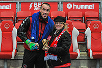 Fleetwood Town's goalkeeper Alex Cairns (1) presented with supporters trophy during the Sky Bet League 1 match between Fleetwood Town and Burton Albion at Highbury Stadium, Fleetwood, England on 15 December 2018. Photo by Stephen Buckley / PRiME Media Images.