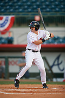 Florida Fire Frogs left fielder Garrison Schwartz (16) at bat during a game against the Palm Beach Cardinals on May 1, 2018 at Osceola County Stadium in Kissimmee, Florida.  Florida defeated Palm Beach 3-2.  (Mike Janes/Four Seam Images)