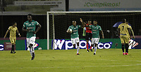 RIONEGRO -COLOMBIA, 15-11-2020: Angelo Rodriguez del  Deportivo Cali  celebra después de anotar el primer gol de su equipo durante el partido entre Aguilas Doradas Rionegro y Deportivo Cali por la fecha 20 de la Liga BetPlay DIMAYOR I 2020 jugado en el estadio Estadio Alberto Grisales de Rionegro. / Angelo Rodriguez of Deportivo Cali celebrates after scoring the first goal of his team during match between Aguilas Doradas Rionegro  and Deportivo Cali for the date 20 BetPlay DIMAYOR League I 2020 played at Alberto Grisales stadium in Rionegro. Photo: VizzorImage/ Juan Augusto Cardona / Contribuidor