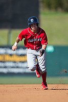 Mickey Moniak (22) of the Lakewood BlueClaws takes off for third base against the Kannapolis Intimidators at Kannapolis Intimidators Stadium on April 9, 2017 in Kannapolis, North Carolina.  The BlueClaws defeated the Intimidators 7-1.  (Brian Westerholt/Four Seam Images)