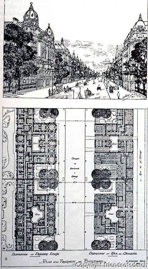 Paris: Henard Plans, streets. Boulevard a Redans. (with setbacks)  Photo '84.