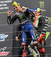 29th August 2021; Silverstone Circuit, Silverstone, Northamptonshire, England; MotoGP British Grand Prix, Race Day; Monster Energy Yamaha MotoGP rider Fabio Quartararo celebrates his race win
