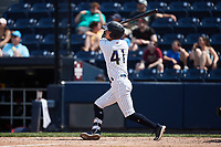 Hoy Park (41) of the Scranton/Wilkes-Barre RailRiders follows through on his swing against the Rochester Red Wings at PNC Field on July 25, 2021 in Moosic, Pennsylvania. (Brian Westerholt/Four Seam Images)