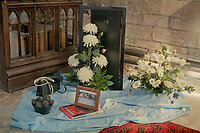 Floral tribute to Margaret Thatcher at St Mary's church, Long Sutton,Lincolnshire.