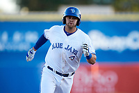Dunedin Blue Jays third baseman Matt Dean (8) running the bases during a game against the Clearwater Threshers on April 8, 2017 at Florida Auto Exchange Stadium in Dunedin, Florida.  Dunedin defeated Clearwater 12-6.  (Mike Janes/Four Seam Images)