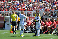 Santa Clara, CA - Sunday July 22, 2018: Magnus Eriksson, Gilbert Fuentes during a friendly match between the San Jose Earthquakes and Manchester United FC at Levi's Stadium.