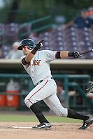 Aramis Garcia (21) of the San Jose Giants bats during a game against the Inland Empire 66ers at San Manuel Stadium on August 26, 2015 in San Bernardino, California. San Jose defeated Inland Empire, 8-1. (Larry Goren/Four Seam Images)
