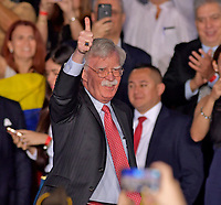 MIAMI, FLORIDA - FEBRUARY 18: National Security Advisor John Bolton along with President Donald Trump and First Lady Melania Trump attend a rally at Florida International University on February 18, 2019 in Miami, Florida. President Trump spoke about the ongoing crisis in Venezuela.<br /> <br /> People: National Security Advisor John Bolton