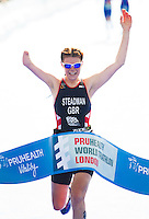 31 MAY 2014 - LONDON, GBR - Lauren Steadman (GBR) of Great Britain celebrates winning the 2014 ITU World Triathlon Series PT4 Paratriathlon in Hyde Park, London, Great Britain (PHOTO COPYRIGHT © 2014 NIGEL FARROW, ALL RIGHTS RESERVED)