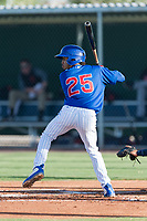 AZL Cubs 1 third baseman Christopher Morel (25) at bat during an Arizona League game against the AZL Indians 1 at Sloan Park on August 27, 2018 in Mesa, Arizona. The AZL Cubs 1 defeated the AZL Indians 1 by a score of 3-2. (Zachary Lucy/Four Seam Images)