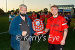 Park FC captain Conor O'Callaghan accepts the Dominos Pizza Challenge Plate from John O'Regan (Sec KDL) having defeated Kenmare in the final