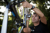 post-race cleaning at Team Orica-GreenEDGE<br /> <br /> 2014 Tour de France<br /> stage 13: Saint-Etiènne - Chamrousse (197km)