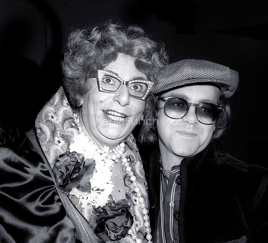 1978 <br /> New York City<br /> Dame Edna (Barry Humphries) & Elton John <br /> at Studio 54<br /> Credit: Adam Scull-PHOTOlink/MediaPunch