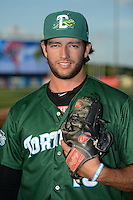 Daytona Tortugas pitcher Jimmy Moran (18) poses for a photo before a game against the Tampa Yankees on April 24, 2015 at George M. Steinbrenner Field in Tampa, Florida.  Tampa defeated Daytona 12-7.  (Mike Janes/Four Seam Images)