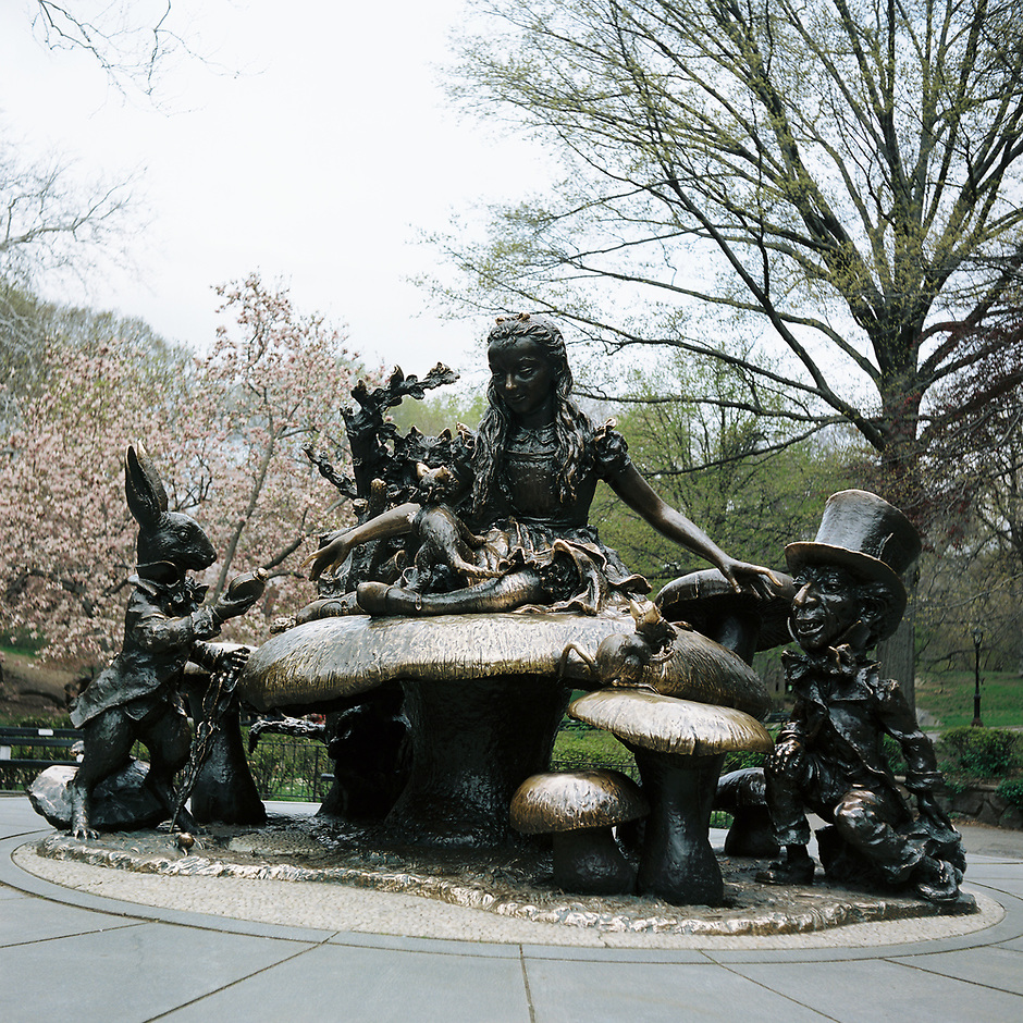 A bronze statue depicting Alice in Wonderland stands in New York's Central Park on Monday, April 30, 2018. (Photo by James Brosher)