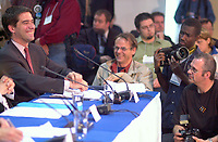 June 6 , 2002, Montreal, Quebec, Canada<br /> <br /> <br /> Andre Boisclair, Quebec Minister Municipal Affairs,<br /> Quebec Minister Environment joke with press photographers at  the closing  of the Montreal Summit<br />  (Le Sommet de Montr»al), June 6, 2002<br /> <br /> <br />  <br /> Mandatory Credit: Photo by Pierre Roussel- Images Distribution. (©) Copyright 2002 by Pierre Roussel <br /> ON SPEC<br /> NOTE l Nikon D-1 jpeg opened with Qimage icc profile, saved in Adobe 1998 RGB.
