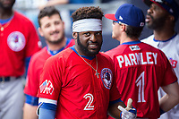 Dwight Smith Jr. (2) of the Buffalo Bisons in the dugout prior to the game against the Durham Bulls at Durham Bulls Athletic Park on April 30, 2017 in Durham, North Carolina.  The Bisons defeated the Bulls 6-1.  (Brian Westerholt/Four Seam Images)