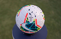 PASADENA, CA - AUGUST 4: The Nike Soccer game ball stands ready during a game between Ireland and USWNT at Rose Bowl on August 3, 2019 in Pasadena, California.