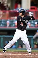 Erie SeaWolves outfielder Jason Krizan (14) at bat during a game against the Akron RubberDucks on May 17, 2014 at Jerry Uht Park in Erie, Pennsylvania.  Erie defeated Akron 2-1.  (Mike Janes/Four Seam Images)