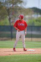 Philadelphia Phillies Alex Wojciechowski stands on second base during a minor league Spring Training game against the Pittsburgh Pirates on March 24, 2017 at Carpenter Complex in Clearwater, Florida.  (Mike Janes/Four Seam Images)