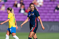 ORLANDO, FL - FEBRUARY 21: Alex Morgan #13 of the USWNT walks on the field during a game between Brazil and USWNT at Exploria Stadium on February 21, 2021 in Orlando, Florida.