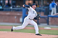 Asheville Tourists starting pitcher Trey Killian (21) delivers a pitch during a game against the Lakewood BlueClaws at McCormick Field on May 4, 2016 in Asheville, North Carolina. The Tourists defeated the BlueClaws 2-0. (Tony Farlow/Four Seam Images)