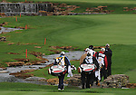 3 October 2008: Players cross the bridge over one of the many water hazards on the Atunyote Golf Courseat the Turning Stone Golf Championship in Verona, New York