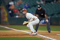 Texas Longhorns first baseman Zach Zubia (52) on defense against the Missouri Tigers in game eight of the 2020 Shriners Hospitals for Children College Classic at Minute Maid Park on March 1, 2020 in Houston, Texas. The Tigers defeated the Longhorns 9-8. (Brian Westerholt/Four Seam Images)