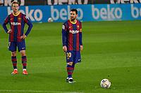 13th February 2021; Camp Nou, Barcelona, Catalonia, Spain; La Liga Football, Barcelona versus Deportivo Alaves; Leo Messi FC Barcelona lines up a direct free kick
