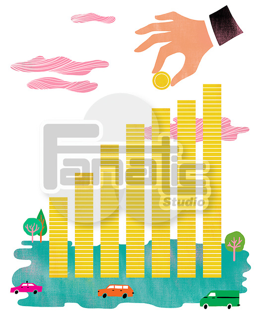 Illustrative image of businessman's hand making bar graph with coins representing investment
