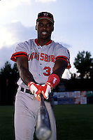 Harrisburg Senators first baseman Cliff Floyd prior to a game versus the New Britain Red Sox at Beehive Field in New Britain, Connecticut during the 1993 season. (Ken Babbitt/Four Seam Images)