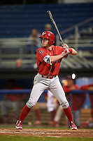 Williamsport Crosscutters center fielder David Martinelli (31) at bat during a game against the Batavia Muckdogs on September 1, 2016 at Dwyer Stadium in Batavia, New York.  Williamsport defeated Batavia 10-3. (Mike Janes/Four Seam Images)
