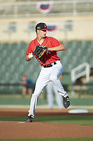 Kannapolis Intimidators starting pitcher Jason Bilous (26) in action against the Rome Braves at Kannapolis Intimidators Stadium on July 2, 2019 in Kannapolis, North Carolina.  The Intimidators walked-off the Braves 5-4. (Brian Westerholt/Four Seam Images)