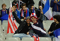 Supporters of team USA celebrate on sthe stands prior to the friendly match France against USA at the Stade de France in Paris, France on November 11th, 2011.